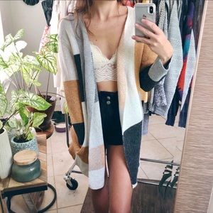 Autumn color block thick cardi ✨